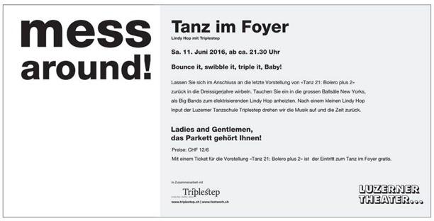 Lindy Hop tanzen im Luzerner Theater
